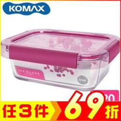 韓國 KOMAX 冰鑽長形強化玻璃保鮮盒 粉 820ml 59854【AE02269】i-Style居家生活