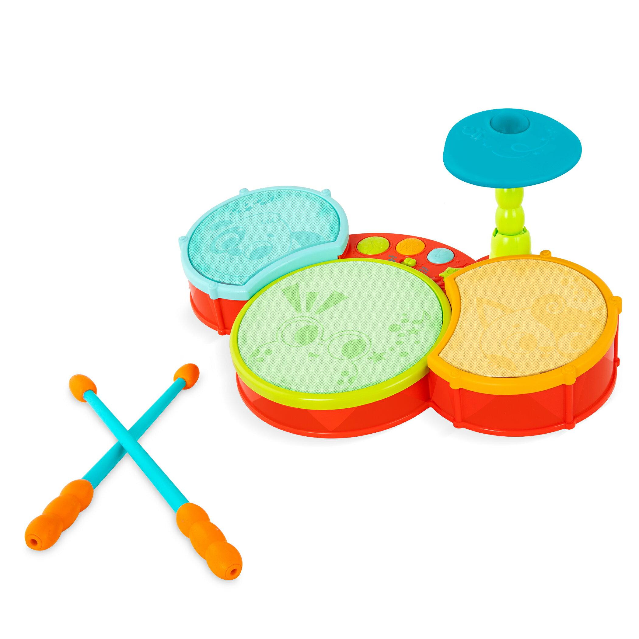 【淘氣寶寶】 美國 B.Toys 感統玩具 芙洛克跟著奏電子鼓 LB1908