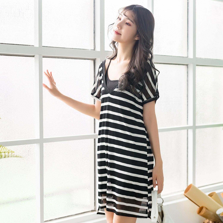 休閒洋裝--兩件式優雅知性吊帶橫條紋修身開岔圓領短袖洋裝(黑M-3L)-D518眼圈熊中大尺碼 0