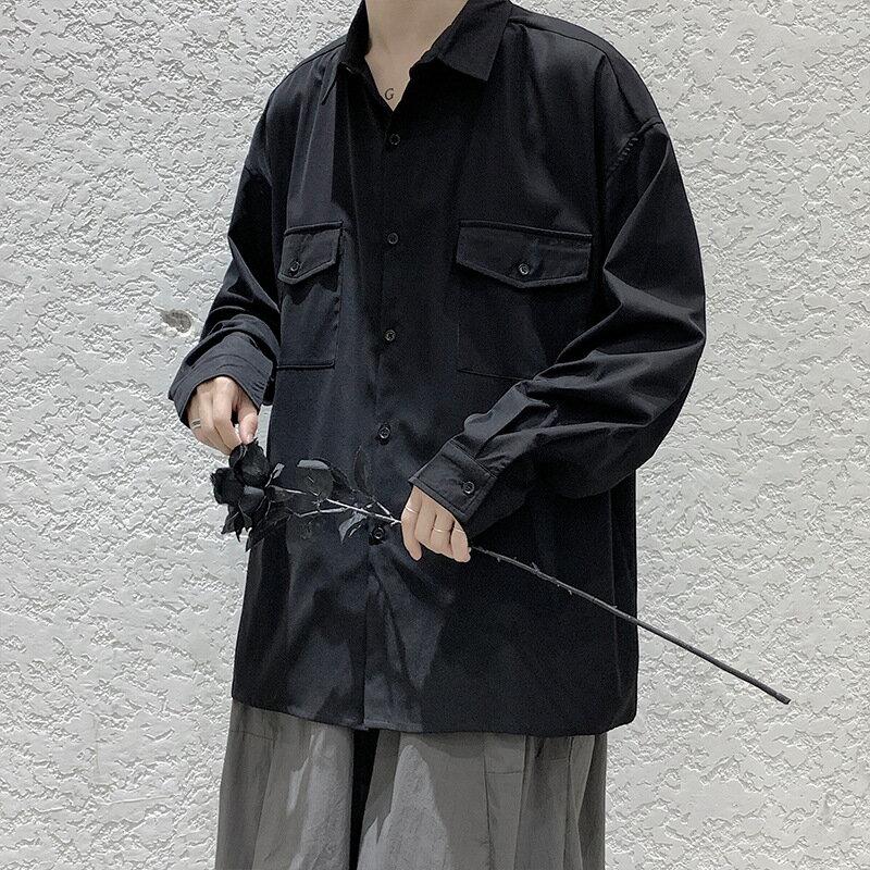 襯衫男士長袖時尚韓版寬鬆潮流百搭帥氣純色襯衣港風潮牌休閒外套