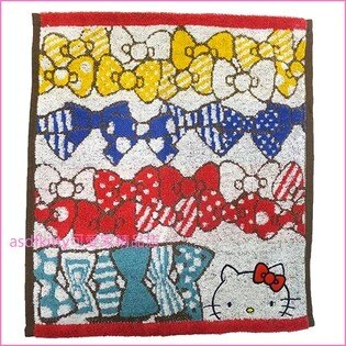 asdfkitty可愛家☆KITTY4色蝴蝶結小方巾手帕-毛巾布材質-34*36公分-日本版正版商品