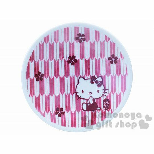 〔小禮堂〕Hello Kitty 日製陶瓷盤《小.暗紅.櫻花.12cm》精緻金正瓷器