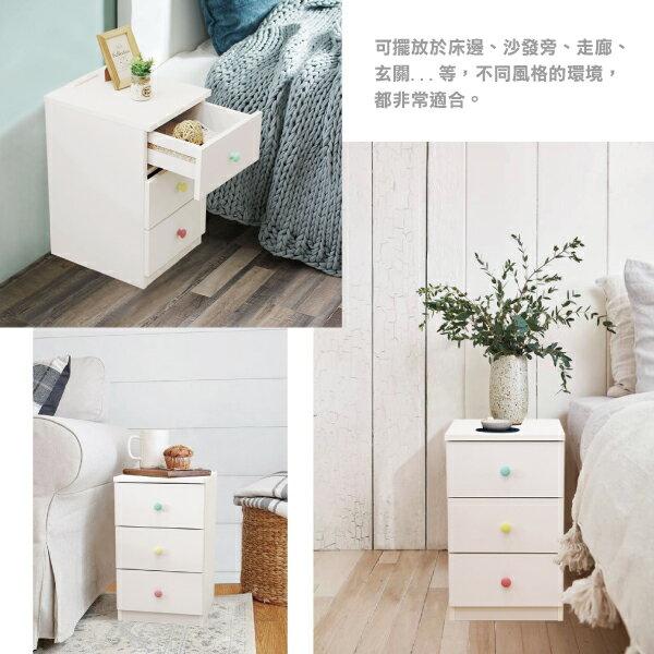 收納櫃 置物櫃 邊櫃 床頭櫃 馬卡龍系列日系床頭櫃(三抽屜-大款) (附插座) 天空樹生活館 6