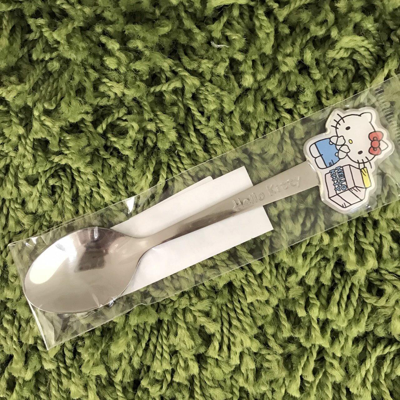 【真愛日本】17111600045 不鏽鋼造型湯匙-KT牛奶盒 三麗鷗 kitty 凱蒂貓 餐具 湯匙 廚房用品