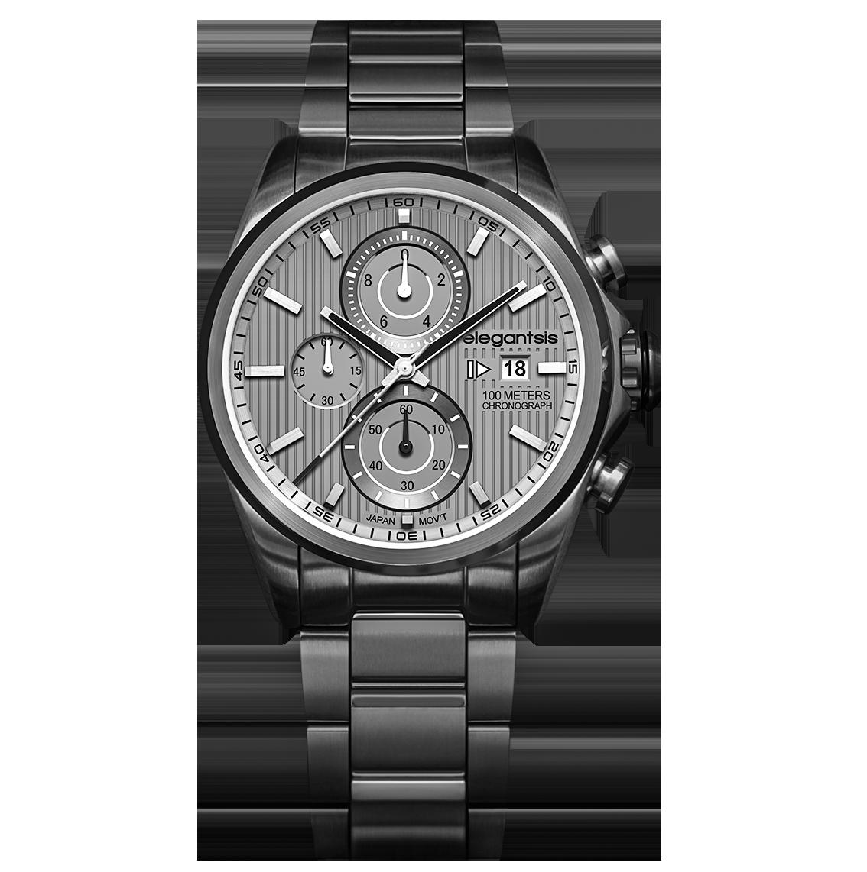 elegantsis--競速冒險因子三環計時不鏽鋼腕錶 內斂灰--ELJT42R-6G05MA--45mm