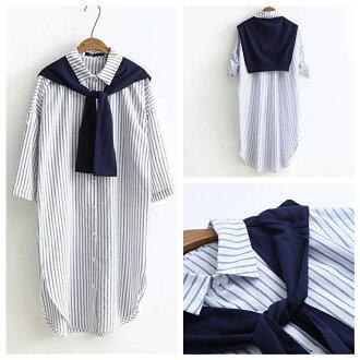 森女系清新百搭披肩設計條紋五分袖長版襯衫