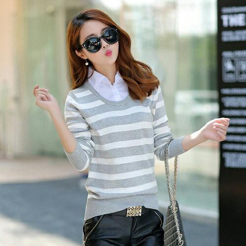 襯衫領假兩件針織衫 (2色) 【OREAD】 1