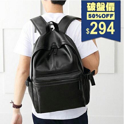 ~全店5折 滿799折100~ 純色 線條大容量後背包 電腦包 中性包 包飾衣院 P184