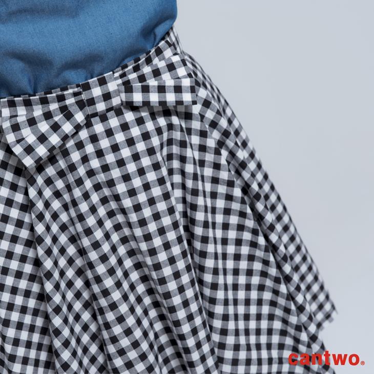 cantwo傘狀雙色格紋短裙(共二色) 4