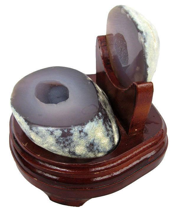 白水晶聚寶盆擺件1.28kg瑪瑙聚寶盆錢袋子發財洞