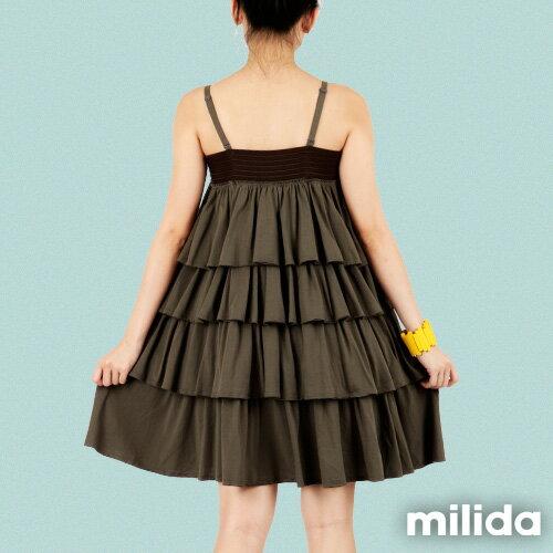 【Milida,全店七折免運】-早春商品-細肩款-百褶裙洋裝 5