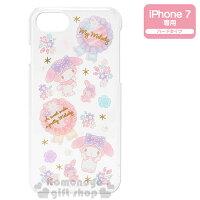 美樂蒂My Melody周邊商品推薦到〔小禮堂〕美樂蒂 iPhone7 裝飾殼《硬式.透明.花.立體玫瑰珍珠》適用4.7吋