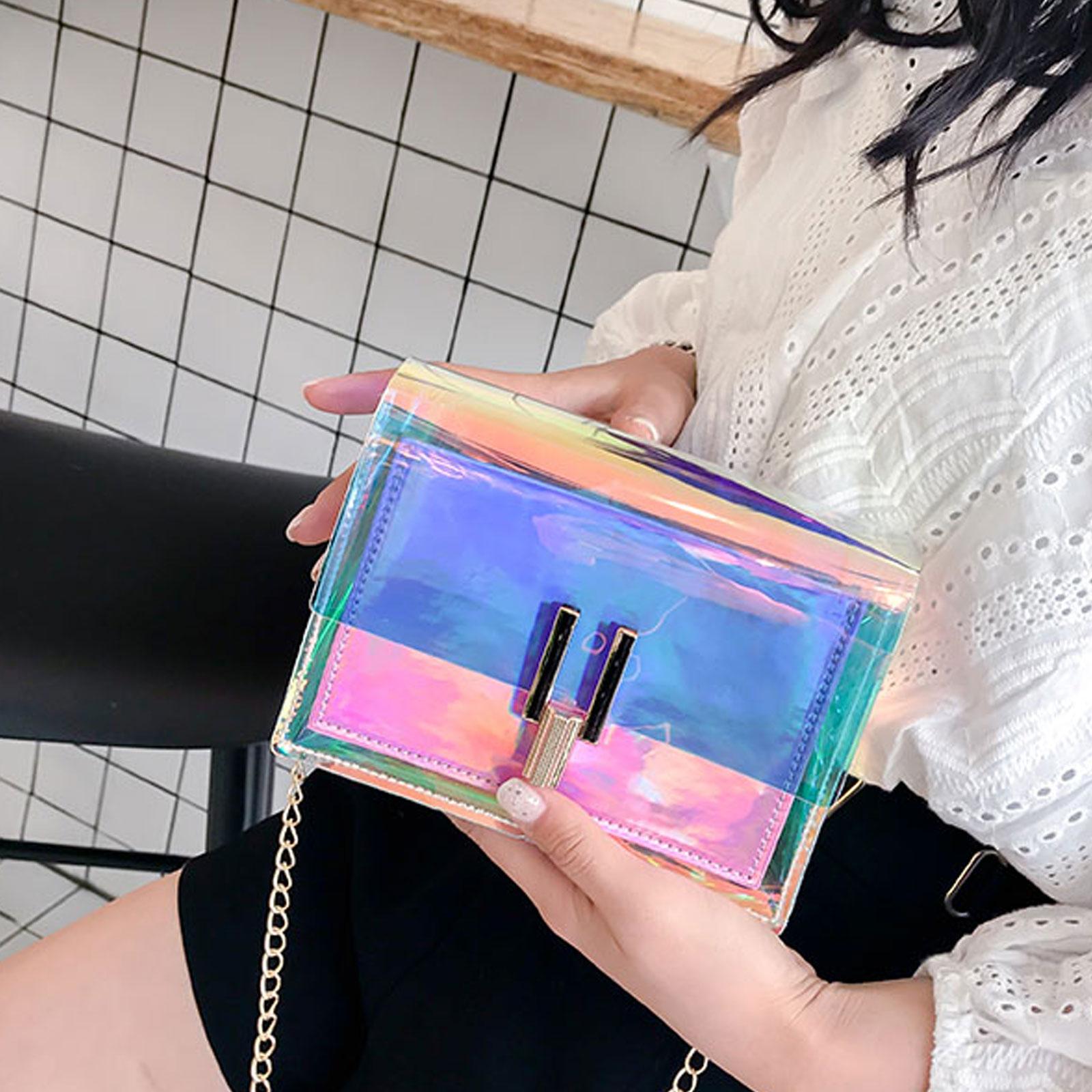 小方包 炫彩透明鐳射果凍包 單肩斜挎小方包【O3480】☆雙兒網☆ 3