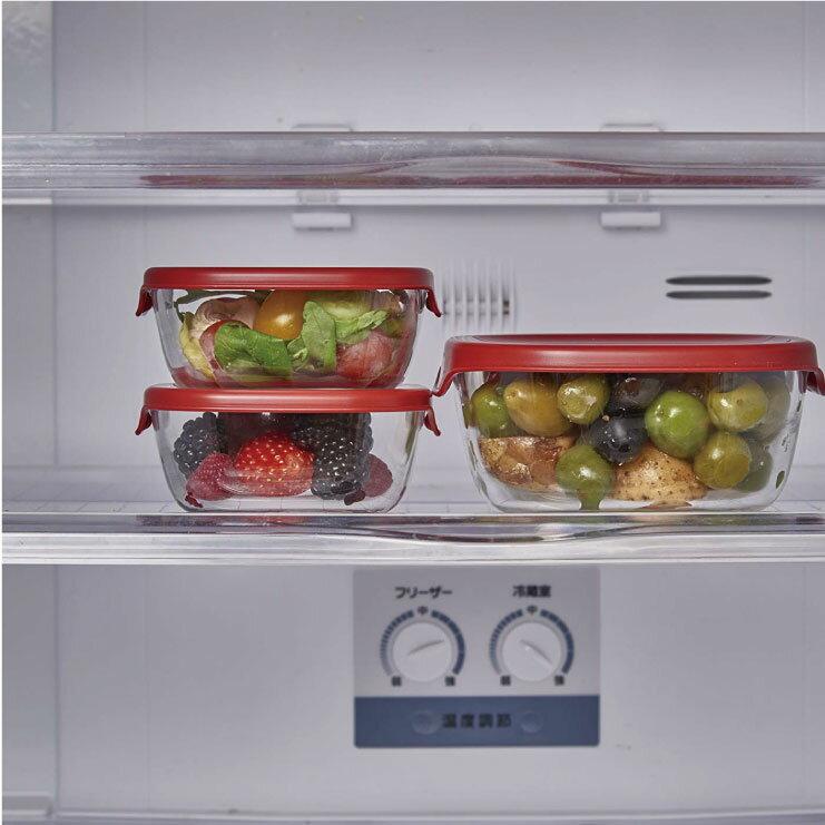 HARIO 方形玻璃保鮮盒3件組/紅色/KST-2012-R 2