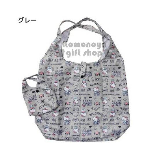 〔小禮堂〕Hello Kitty 環保購物袋《灰.腳踏車.蘋果.咖啡杯》可摺疊.附收納包