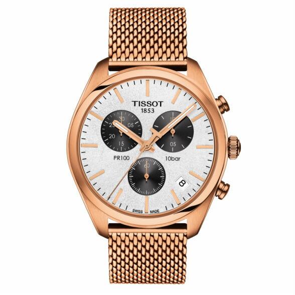 TISSOT天梭T1014173303101PR100三眼經典機械石英腕錶-皮帶款玫瑰金41mm