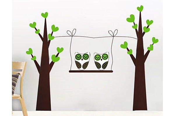 BO雜貨:BO雜貨【YP1634】創意可移動壁貼牆貼背景貼磁磚貼兒童房佈置設計壁貼貓頭鷹樹