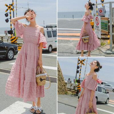 韓系女裝露肩吊帶裙收腰一字領高腰連身裙洋裝樂天時尚館。預購
