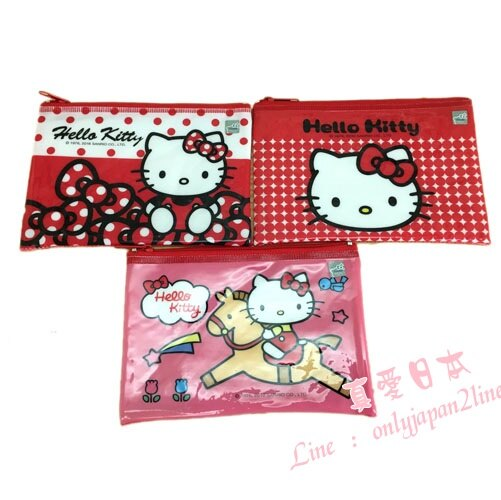【真愛日本】16090500015彩色資料網袋-KT紅   KITTY 凱蒂貓 三麗鷗  收納袋 生活雜貨