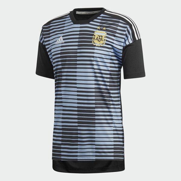 ADIDASARGENTINAHOMEPRE-MATCH男裝短袖阿根廷世界盃世足賽黑藍【運動世界】CF1546