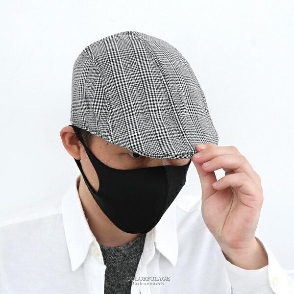 鴨舌帽黑白千鳥格紋扁帽小偷帽貝蕾帽【NH286】透氣舒適