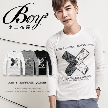 ☆BOY-2☆【NR73956】十字漫畫長袖T恤 0