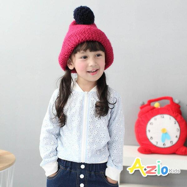 《Azio Kids 美國派 童裝》外套 粉嫩滿版小花圖樣拉鍊外套(藍)