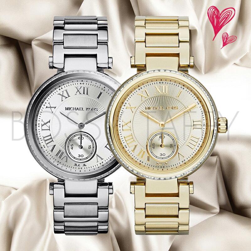 MK5866 MK5867 MICHAEL KORS 氣質不銹鋼錶盤腕錶對錶組 銀色 金色