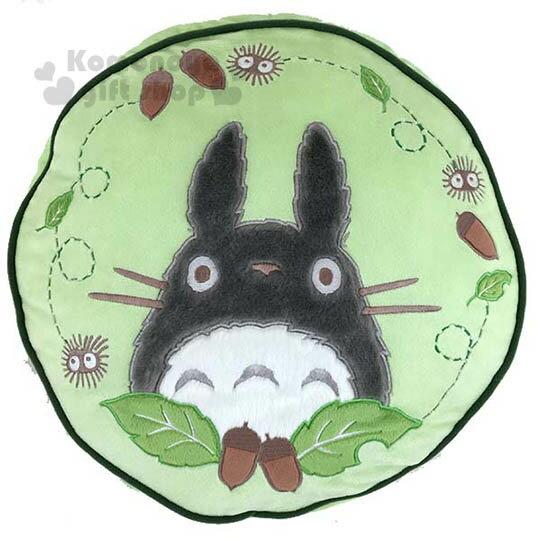 〔小禮堂〕宮崎駿 TOTORO 龍貓 造型靠墊抱枕《綠.圓.葉子》居家裝飾