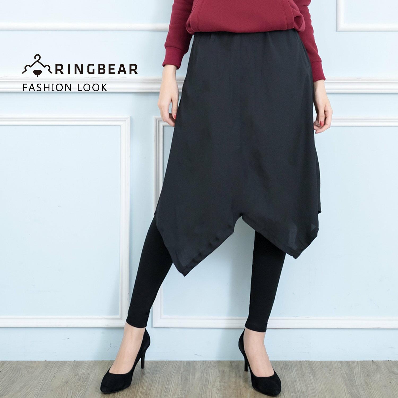 褲裙--個性氣質假兩件不規則下襬雪紡裙彈性貼身打底褲(黑M-5L)-P133眼圈熊中大尺碼 0