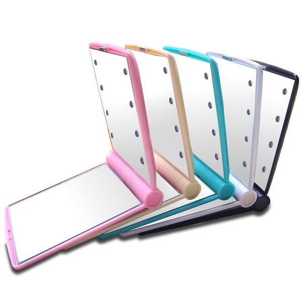 ?MY COLOR?LED發光化妝鏡 隨身 便攜 補妝 美容 雙面 帶燈 梳妝 鏡子 摺疊 鏡子 掀開式【M01】