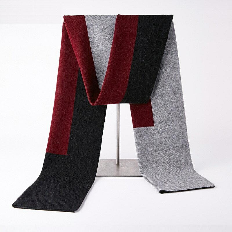 圍巾羊毛披肩-加厚拼色色塊針織男配件4色73wh42【獨家進口】【米蘭精品】
