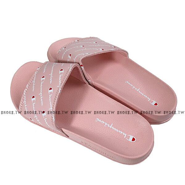Shoestw【913250166】CHAMPION 拖鞋 運動拖鞋 滿版小LOGO 粉紅色 女生尺寸 2