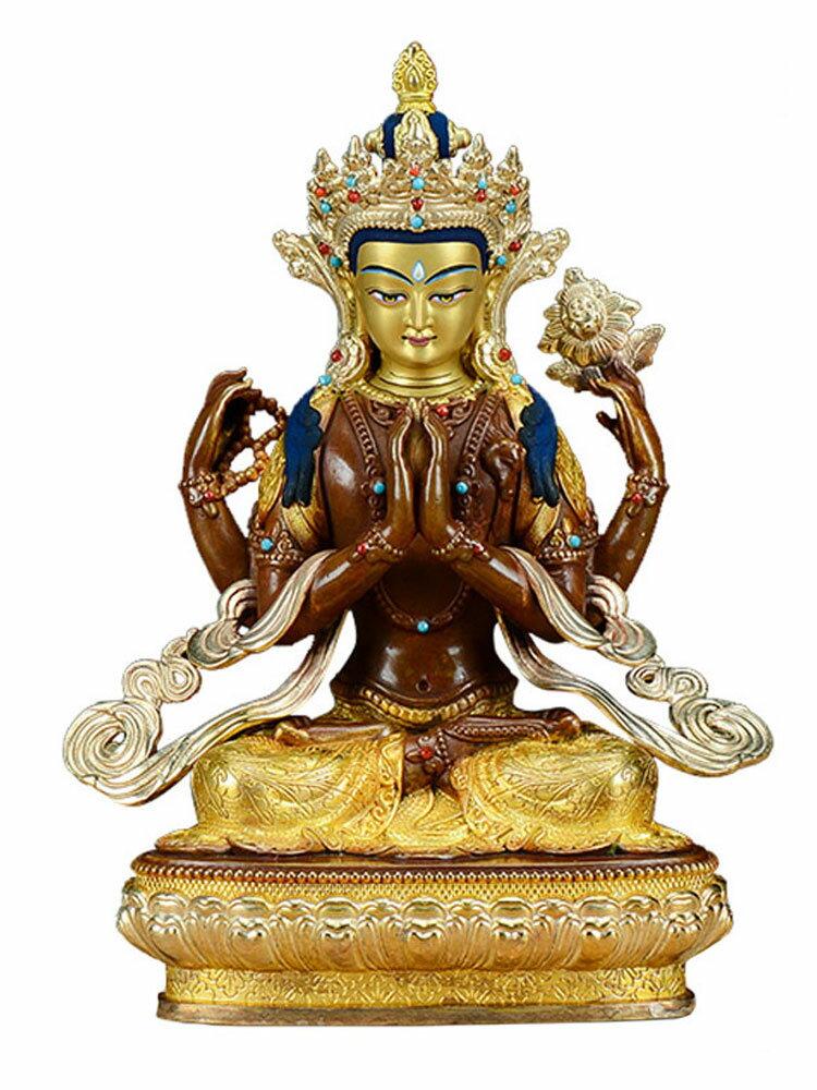 歐斯特 四臂觀音佛像 家居飾品擺件銅鎏金鎏銀7寸觀音菩薩工藝品