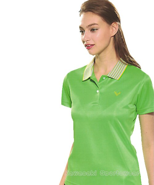【日本 Kawasaki】女版運動休閒吸濕排汗短POLO衫-螢綠#KW2239A1(排汗衫) 0