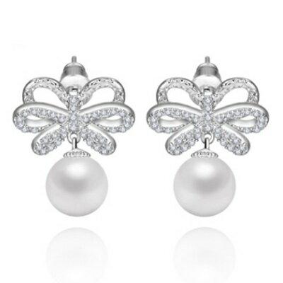 純銀耳環鍍白金鑲鑽耳飾~精緻 搶眼貝殼珠七夕情人節生日 女飾品73cr296~ ~~米蘭