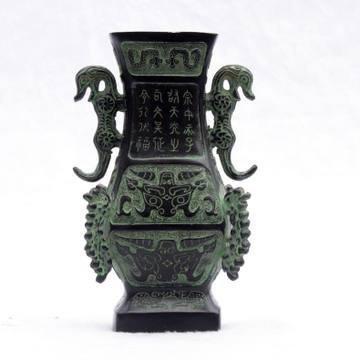 開光古青銅器雙虎六棱瓶商務禮品中式居家古擺件