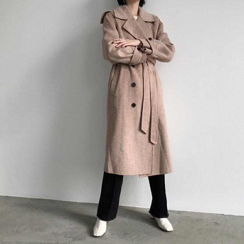 毛呢大衣羊毛外套-雙排扣繫帶寬鬆長版女外套73wb35【獨家進口】【米蘭精品】 2