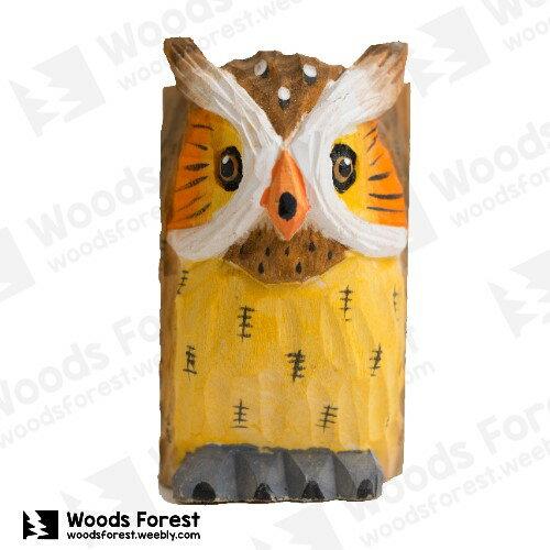 木雕森林 Woods Forest - 動物木雕筆筒【貓頭鷹】( 造型生動;手感佳!)
