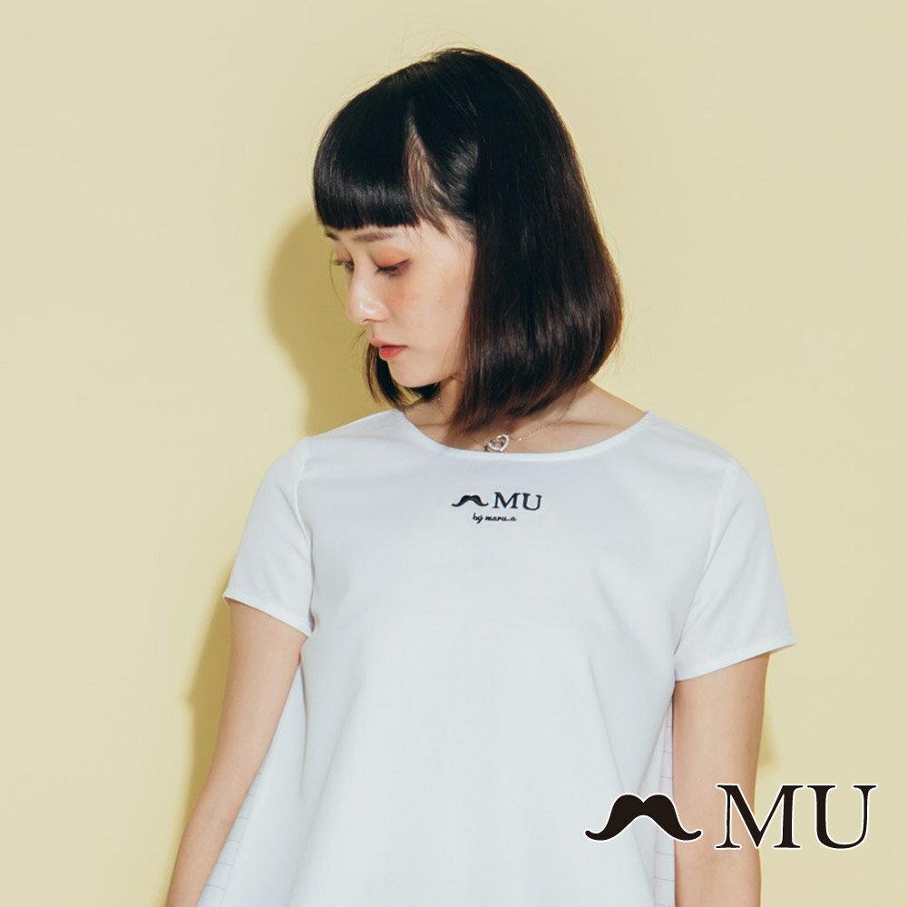 【MU】素面簡約LOGO條紋側拼接上衣(2色)7323168 2