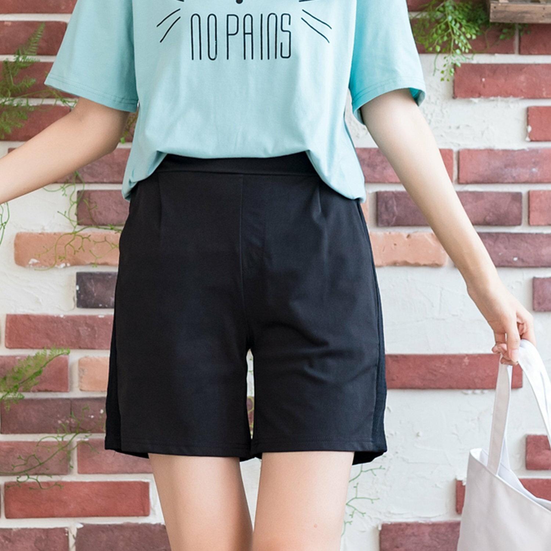 五分褲--韓版休閒舒適高腰打折修飾網布造型寬鬆口袋短褲(黑.藍XL-5L)-R215眼圈熊中大尺碼 1