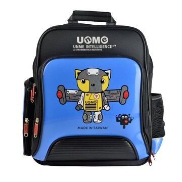 X射線【Cb3077a】UnMe護脊鏡面後背書包(機器人站.藍)3077台灣製造,開學必備/兒童書包/雙肩包