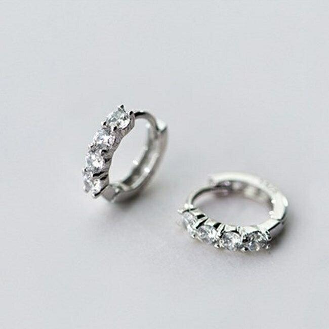 防抗過敏 單排鑽 天然白水晶 耳環耳圈扣-銀