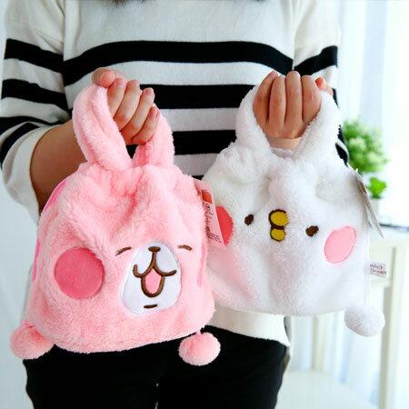 卡娜赫拉小動物絨毛束口提袋 束口包 小提袋 手提袋 收納袋 袋子 兔子 小兔兔 貓咪 P助