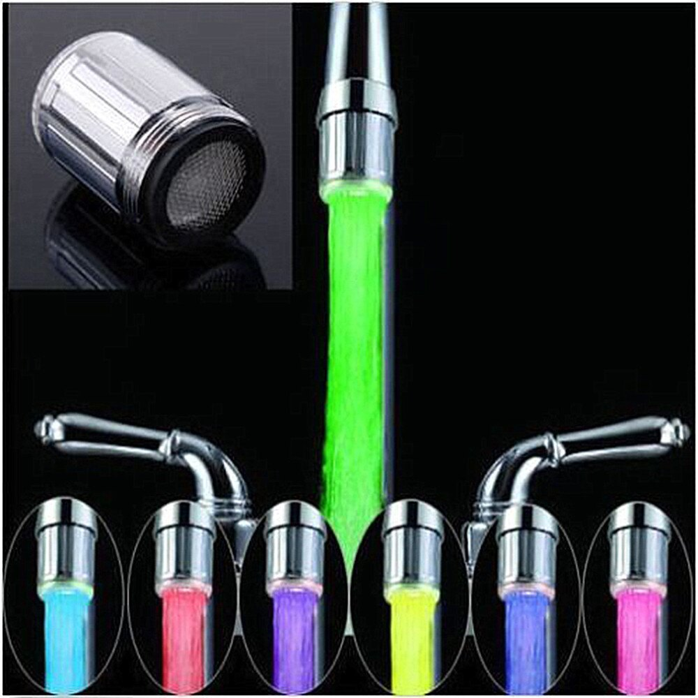 LED水龍頭流水燈7變色發光淋浴龍頭廚房壓力感測器廚房配件
