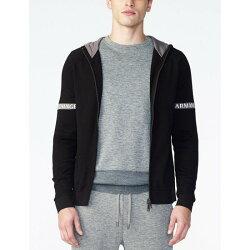 美國百分百【Armani Exchange】針織 外套 AX 連帽 棉質 針織衫 拉鏈 線衫 亞曼尼 黑色 S號 H704