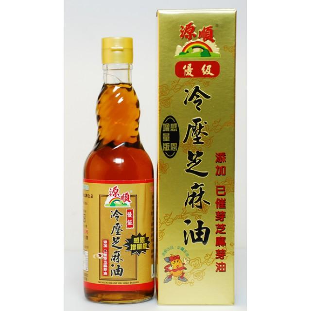 源順 I優級冷壓芝麻油(添加已催芽芝麻芽油)(瓶裝) I 570 ml (瓶) I林老師推薦好油 料理油