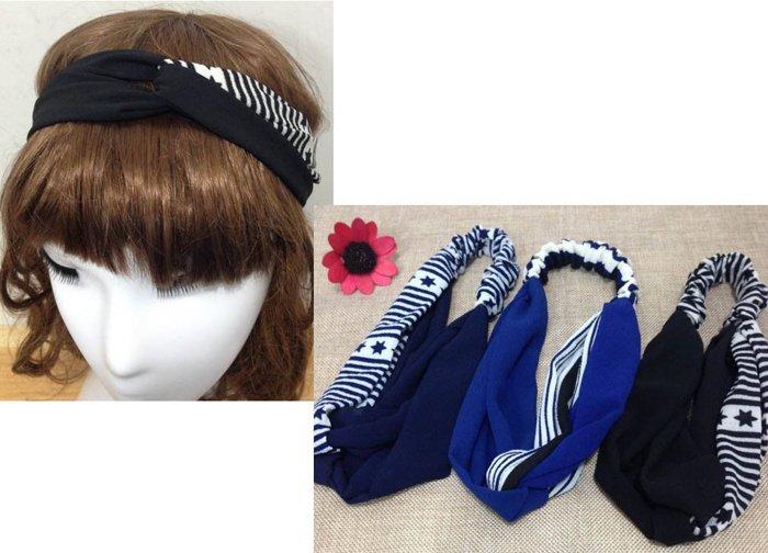 ~草魚妹~H346髮帶條紋星星交叉 瑜珈頭帶髮帶髮箍髮圈,售價120元