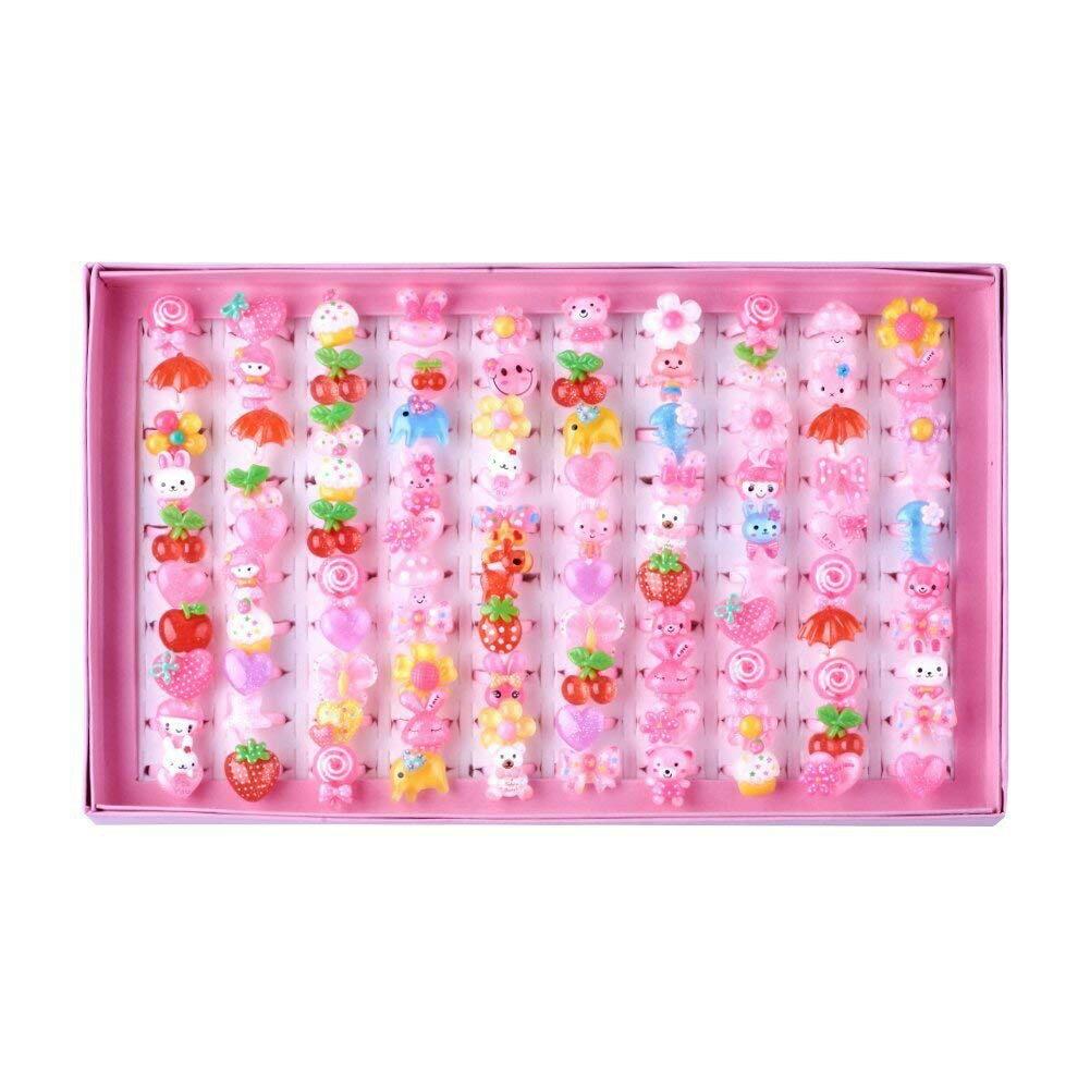【預購】日本進口景品 100個/1個6元  - 可愛的玩具戒指集兒童女孩的禮物節日獎品節日 - 隨機混合【星野日本玩具】