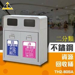 【西瓜籽】不鏽鋼二分類資源回收桶 TH2-80SA 回收桶 垃圾桶 紙簍 資源回收箱 分類桶 環保資源